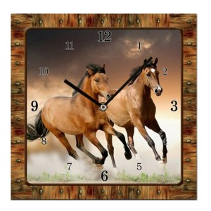 French Country Chic Retro Inspired Wall Clock Square 15cm HORSES New