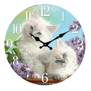 French Country Chic Retro Inspired Wall Clock 30cm KITTEN New