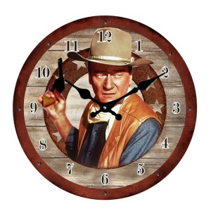 French Country Chic Retro Inspired Wall Clock 17cm JOHN WAYNE New