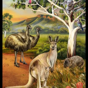 Patchwork Quilting Sewing Fabric AUSTRALIAN WILDLIFE Panel 90x110cm New