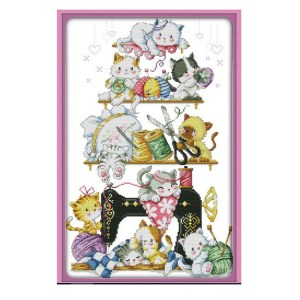 Cross Stitch Kit QUILTING CAT X Stitch Joy Sunday Designs Incl Threads New