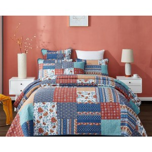 French Country Patchwork Bed Quilt BLUE INSPIRATION Throw Coverlet New
