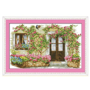 Cross Stitch Kit ROSE CABIN X Stitch Joy Sunday Designs Incl Threads New
