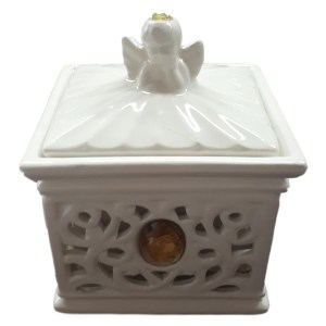 French Country CRYSTAL ROSE Trinket Box SQUARE with Lid White China New