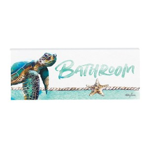 French Country Wall Art Plaque Sea Turtle BATHROOM Wooden Sign New
