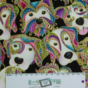 Quilting Patchwork Sewing Fabric DOG GONE IT DOGITUDE HEADS 50x55cm FQ New