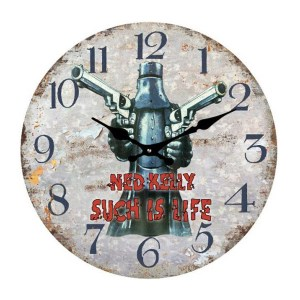 French Country Chic Retro Celebrity Inspired Wall Clock 17cm NED KELLY SUCH IS LIFE New