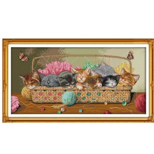 Cross Stitch Kit NEWBORN KITTENS X Stitch Joy Sunday Designs Incl Threads New