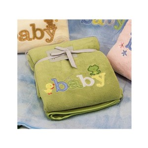 Embroidered Baby Blanket Throw GREEN Soft and Fluffy for the Cot New