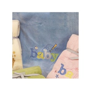 Embroidered Baby Blanket Throw BLUE Soft and Fluffy for the Cot New