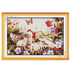 Cross Stitch Kit LEISURE CAT X Stitch Joy Sunday Designs Incl Threads New