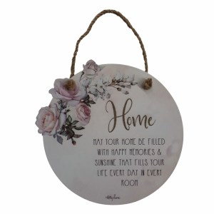 Country Tin Sign Wall Art ENGLISH ROSE Round Home Plaque New
