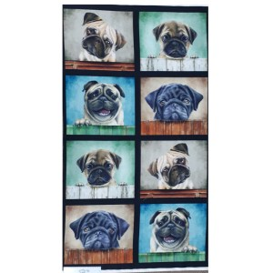 Patchwork Quilting Sewing Fabric PUG DOGS Panel 63x110cm New Material