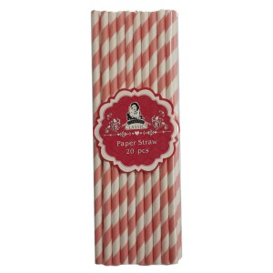 Environmentally Friendly Pink and White Paper Straws Pack of 20 New