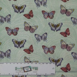 Quilting Patchwork Sewing Fabric AQUA BUTTERFLIES ALLOVER 50x55cm FQ New Material