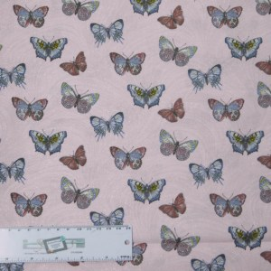 Quilting Patchwork Sewing Fabric PINK BUTTERFLIES ALLOVER 50x55cm FQ New Material