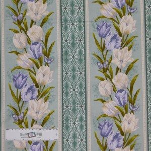 Quilting Patchwork Sewing Fabric TOTALLY TULIPS PURPLE BORDER 50x55cm FQ New Material