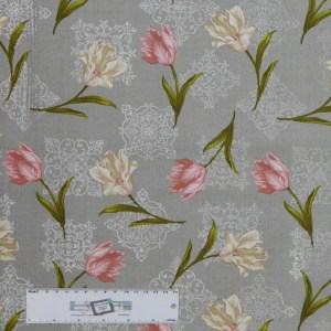 Quilting Patchwork Sewing Fabric TOTALLY TULIPS PINK SCATTERED 50x55cm FQ New