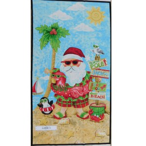 Patchwork Quilting Sewing Fabric CHRISTMAS BEACH SANTA Panel 60x110cm New