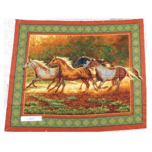 Patchwork Quilting Sewing Fabric RUN WILD RUN FREE HORSE Panel 90x110cm New