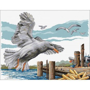 Country Threads Cross Stitch SEAGULLS TAKEAWAY Kit New X Stitch FJ-1089