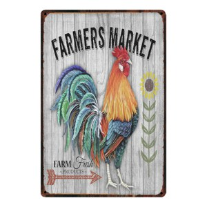 Country Tin Sign Vintage Look Wall Art FARMERS MARKET ROOSTER 2 Plaque New