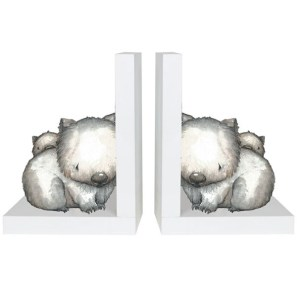 French Country Inspired Wooden Bookends BABY JOEY Wombat New