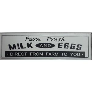 Country Metal Enamel Farmhouse Sign FARM FRESH MILK EGGS Plaque New