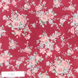 Quilting Patchwork Sewing Fabric FLORAL PROMISE MAROON LARGE ROSES 50x55cm FQ New