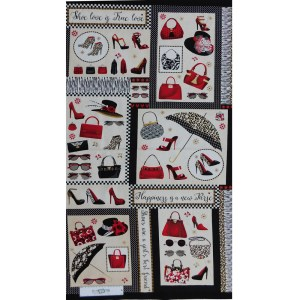 Patchwork Quilting Sewing Fabric SHOES LOVE Panel 63x110cm New Material