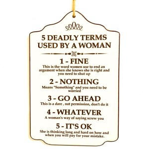 Country Painted Wooden Hanging Sign DEADLY TERMS Plaque New