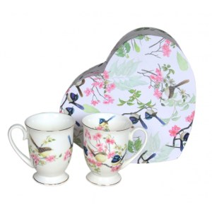 French Country Chic Kitchen 280mm Tea Mugs BLUE WREN Set of 2 New