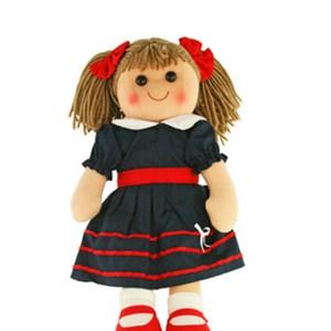Lovely Soft Rag Doll HARPER Navy and Red Dress 35cm New