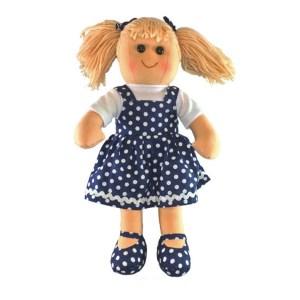 Lovely Soft Rag Doll HARRIET Navy Spotted Dress 35cm New