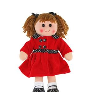 Lovely Soft Rag Doll SCARLETT Red Coat Girl Doll 35cm New