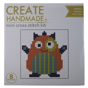 Create Handmade Cross Stitch Kit Beginner MONSTER 6x6cm New
