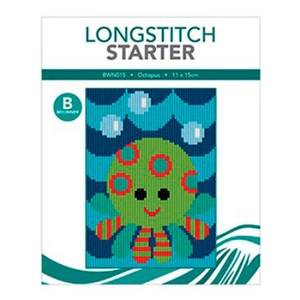 Create Handmade Long Stitch Kit Beginner OCTOPUS 11x15cm New