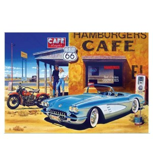5D Diamond Painting Full Image Square Drills ROUTE 66 CAFE 40x60cm