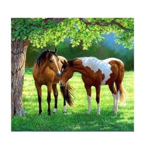 5D Diamond Painting Full Image Square Drills HORSES UNDER TREE 45x45cm