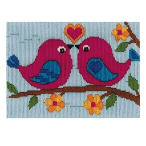 BEUTRON Long Stitch Kit Kids Beginner LOVE BIRD DUO 13x18cm New