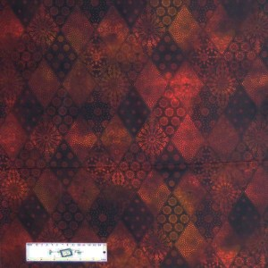 Quilting Patchwork Sewing Fabric JASON YENTER SEASONS DIAMONDS RUST 50x55cm FQ New