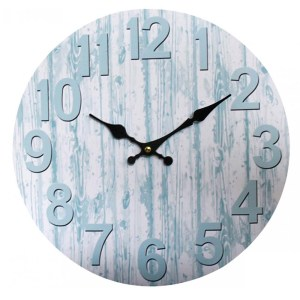 Clock Country Vintage Inspired Wall BY WHITE WITH BLUE RIPPLES Clock 34cm New