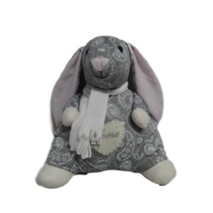 French Country Vintage Weighted GREY BUNNY RABBIT STANDING Door Stopper