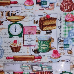 Quilting Patchwork Sewing Fabric KITCHEN COOKING 50x55cm FQ New