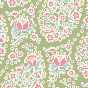 Quilting Patchwork Sewing Fabric TILDA HAPPY CAMPER CHARLENE GREEN 50x55cm FQ