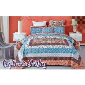 French Country Patchwork Bed Quilt CAPTIVATE PAISLEY THROW Coverlet