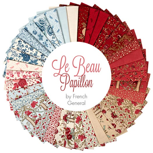 Quilting Charm Pack Patchwork MODA LE BEAU PAPILLON 5 Inch Sewing Fabrics
