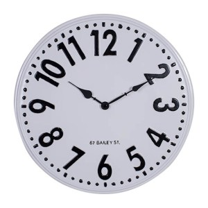 Clock Country Vintage Inspired Wall Large BAILEY ST Enamel 39cm