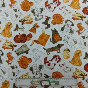 Quilting Patchwork Fabric FUNNY PETS DOGS 50x55cm FQ New Material