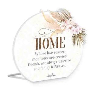 French Country Wooden Sign Bismark HOME LOVE RESIDES Plaque